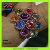 gorgeous beautiful school girls rhinestone jewelry sparkling rhinestone iridescence flower design finger ring