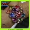 gorgeous beautiful school girls rhinestone jewelry sparkling rhinestone iridescence flower design finger ring
