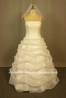 Organza summer wedding dress crystal swarovski with detachable train