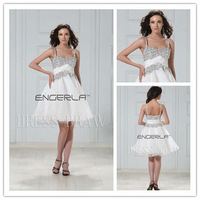 White Organza Beaded Mini Sheath Spaghetti Strap Sweetheart Prom Dresses