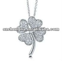 wholesale clover shape 925 silver pendant rhodium plated