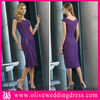 LV40134 Cap sleeve Sheath Knee length Pleated Chiffon Purple women dresses
