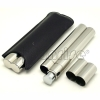 metal cigar tube hip flask with leather cover