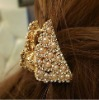 Magnificent hair clamp gold crystal pearl hair jewelry