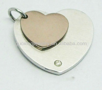 Fashionable Double Heart Jewelry Stainless Steel Pendants
