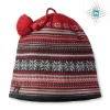 jacquard knitted hat with bobble