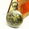 Quartz movement antique horse rider case pocket watch W99