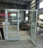 UPVC plastic interior doors open in,vinyl swing french door with grill ,French door with side panels