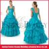 High-fashion blue satin diamond beaded cap sleeve prom dress ruffled