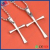 Cross tilver colour couple necklace/lovers jewelry
