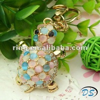 Pretty Tortoise Turtle Keychain Wirh Cat's Eye Stone Beads