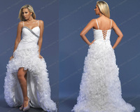 White organza beaded short front long back prom dress