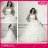 AZ0206 Beaded Applique floor length Ruched Ball Gown Prom Dress