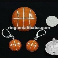 New fall basketball pendant & earring set