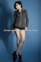 2012fashion design 100%cotton denim lady blouse