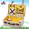 natural handmade wicker picnic basket for 2 persons
