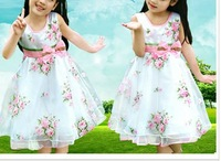 Girls' sundress flower 4-6 year old chirldren birthday dress #81