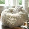 white fur bean bag