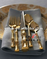 Bamboo Pattern Gold Finish Stainless Flatware