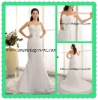 2013 exclusive design satin chiffon made wedding dress with pleated bodice and flowers
