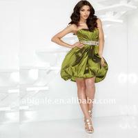 Pleated Bubble Hem Short Skirt Beaded Waist Wholesale Cocktail Dress