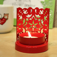 Metal candle holder heart design