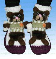 Knitted home non-skid or non-slip animal acrylic socks