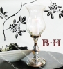 big glass hurricane with metal stand candle holder