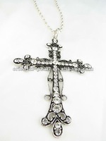 Charm necklace crystal cross pendant