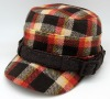 Retail quality military hat with checked fabric