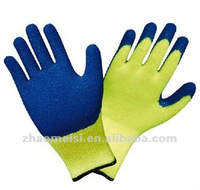 Yellow cotton lined gloves with rubber coated to finger,wrinkle palm