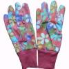 women's mini PVC dots dotted patterned cotton canvas garden gloves