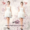2012 One shoulder design short length white color feather cocktail dress AF71#