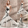 WM082 New modle Elegant strpaless lace attached sash black and white wedding dresses 2012