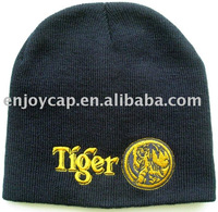 100% acrylic black beanie with customer's logo