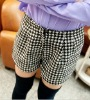 ej2440 British Style Classic High Waist Women Cheap Wool Short Pants With Belt