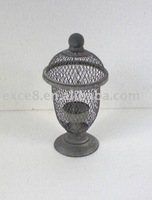 KS4210F- metal wire cage candle holder w/stand