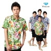 Hawaiian latest brand design Italian style 100% cotton slim fit casual trendy fashion short sleeve men printing shirt
