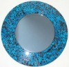Round Mosaic Glass Wall Mirror, Frame, mirrored furniture