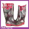 Fashion Rubber Gumboots with Flower Printing