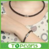 leather bracelet magnetic closure MEB246 & leather necklace stainless steel jewelry set