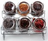 6pcs IKEA Glass spice box set with metal rack