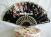 Highly popular Christmas gift plastic silk fan with lace on the top