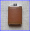7oz stainless steel hip flask with leather wrapped