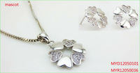 New design 925 sterling silver CZ necklace and earring sets