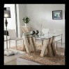 Glass&Travertine Marble Top Dining Table D1103