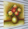 Artificial Flowers Arrangements In Vase With Brushstroke Print on Canvas