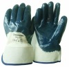 blue nitrile coated gloves cotton jersey liner open back nitrile coated work gloves safety cuff