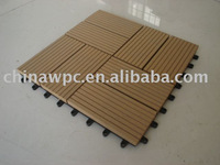 wpc diy tile ST300D,wpc interlocking decking tile,plastic base deck tile
