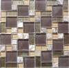 Glass tile backsplash for bathroom